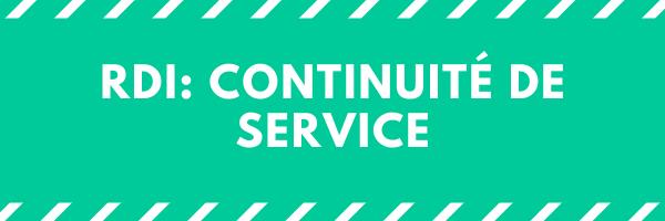 RDI: continuité de service
